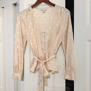 Topshop Cream/Peach Blouse Size 4
